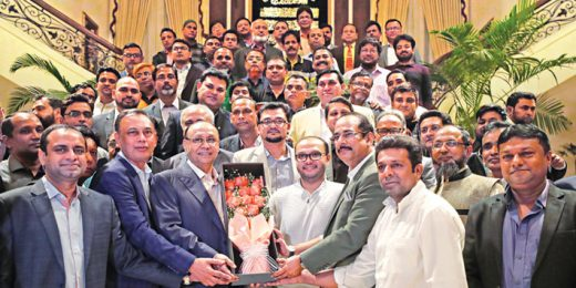 Bashundhara Group Chairman and Vice Chairman were greeted with floral bouquet by the leaders of COAB